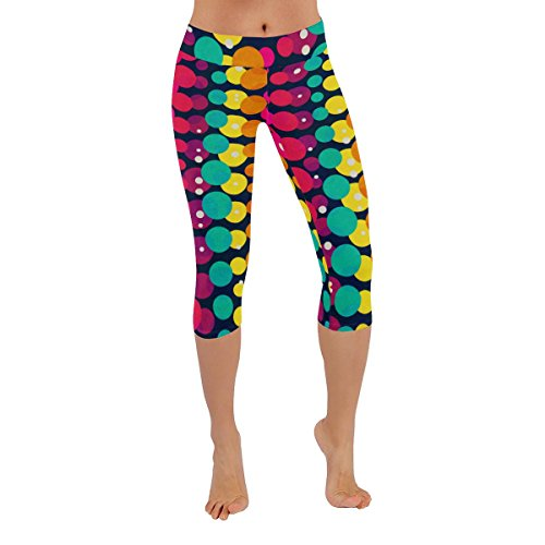 Unique Debora Custom Women's Fitness Low Rise Capri Legging Skinny Pants with Design Bright Rainbow Circle Seamless Pattern Circles Capri Pants