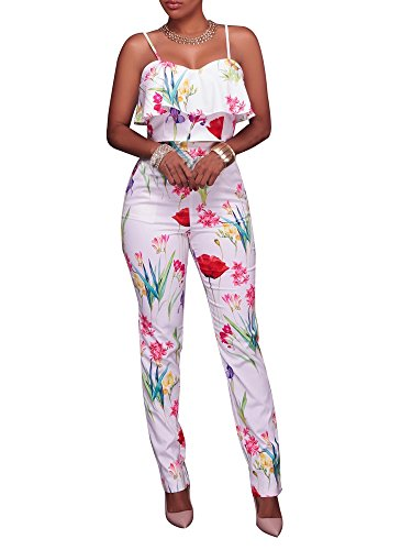 - Women's Floral Print Sleeveless Strap Top Casual Bodycon Stretch High Waist Long Pants 2 Pieces Jumpsuit White