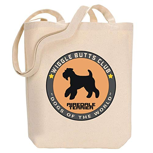 Idakoos Airedale Terrier Wiggle Butts Club Pin Canvas Tote Bag 10.5