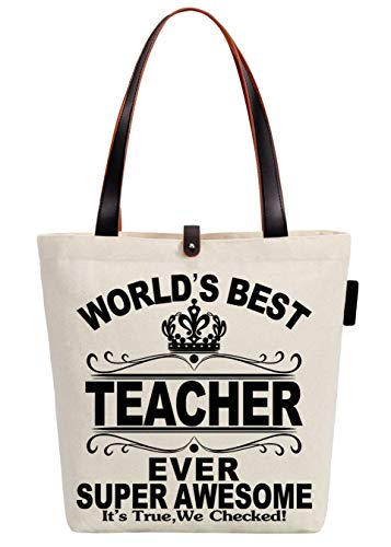 (So'each Canvas & Beach Tote Bag World's Best Teacher Ever Printed Handbag Shopper Shopping Bag)
