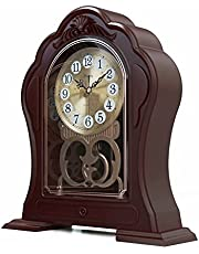 Mantel Clock, Antique Table Clock, Old-Fashioned Grandfather Clock, Retro Pendulum Clock, Silent, Easy to Read, Used for Mantel, Living Room Decoration, Office, Bedroom