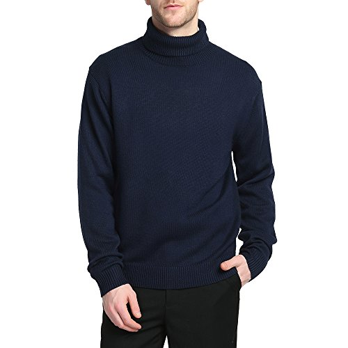 Kallspin Men's Merino Wool Blend Relax Fit Turtle Neck Sweater Pullover (M, Navy Blue)