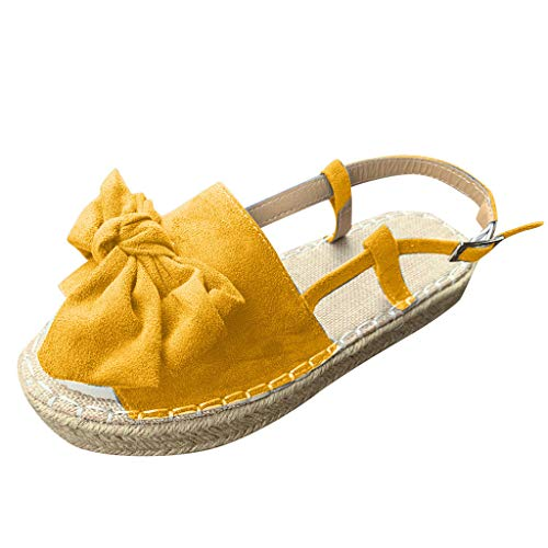 Women's Casual Platform Sandals Espadrille Wedge Shoes Slippers Summer Ankle Buckle Open Toe Flat Sandals Yellow