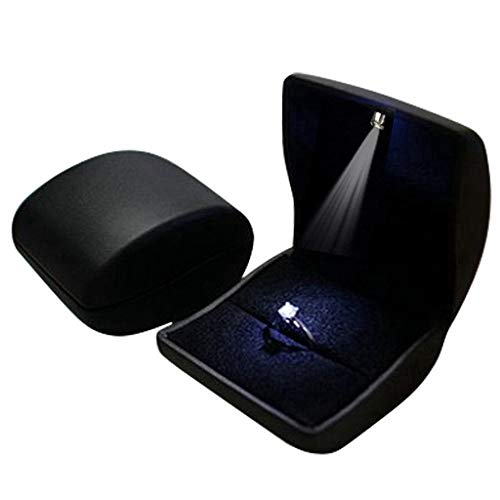 Lily Treacy PU Leather Earrings,Coin,Jewelry,ring Box,Case, with LED Lighted up for Proposal,Engagement,Wedding,Gift (Black)