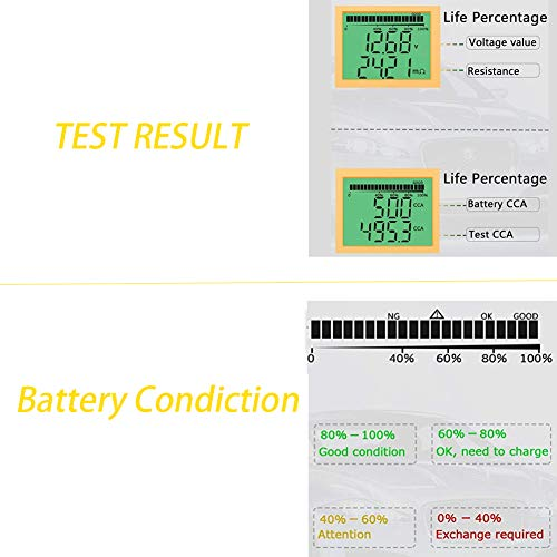 Digital 12V Car Battery Tester Automotive Battery Load Tester and Analyzer of Battery Life Percentage,Voltage, Resistance and CCA Value by coogstore (Image #3)
