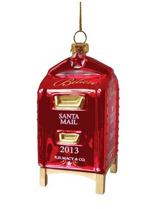 Macy's Yes Virginia Mailbox Glass Christmas Ornament 2013 - Virginia Macy's