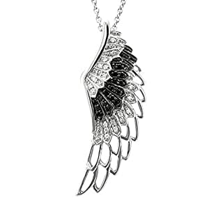 BLACK and WHITE Diamond Angel Wing Sterling Silver Necklace (1/4 Carat)