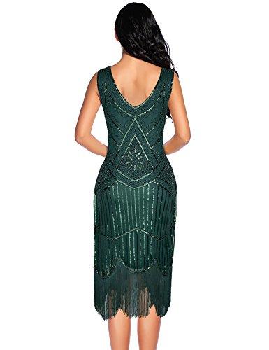 Flapper Dress Hem Beaded 1920s Flapper Girl Green Blackish Tassels Vintage Sequin Women's zz80R