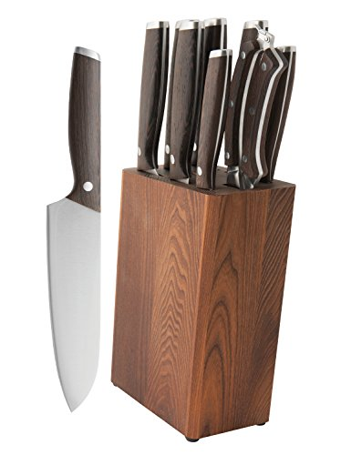 BergHOFF Rosewood Essentials Collection | 9-Piece Dark Wooden Knife Block | Stainless Steel