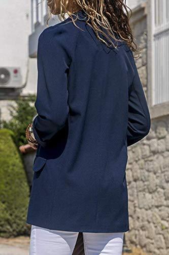 coloré Vestes Bleu Blazer M Bleu Printemps Automne Cardigan Womens Office Taille Avant Décontracté xwOqUS8nz0