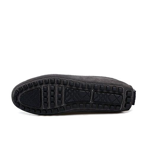 Abby 7599 Slip-on Mens Comfort Eccezionale Casual Mocassini Pantofole Lint Driver Grigio