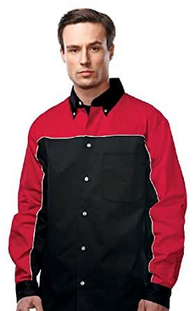 Tri-Mountain W908LS Mens 60% Cotton 40% Polyester Twill Woven Long Sleeve Shirt - Red - 2XLT