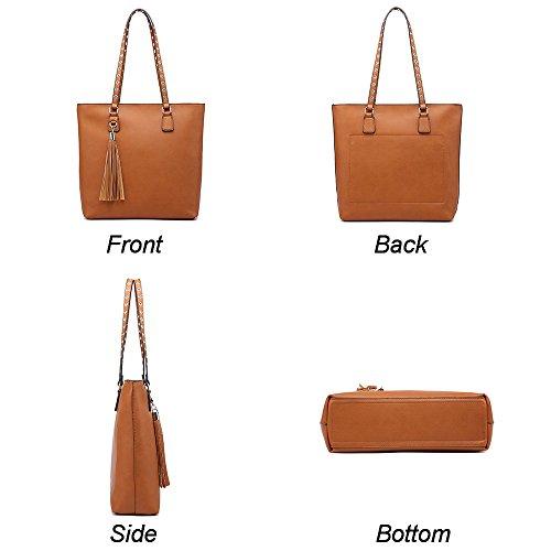 Classic Medium Hobo Handbag Tote Chic Large Elegant Tan Women Bag Tassels Wallets Purse Shoulder Set SqU4wRzxz