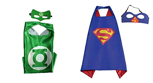 2 Capes, and 2 Masks Green Lantern & Superman Costumes In Gift Box from Outlander ()