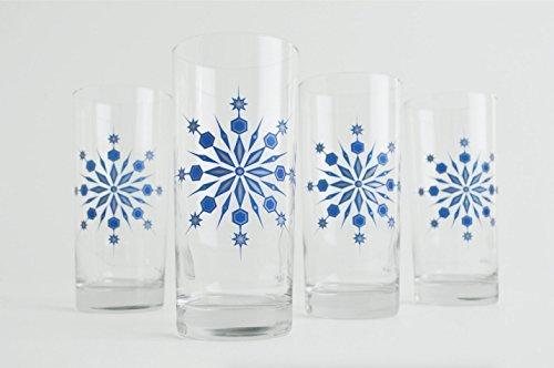 Snowflake Drinking Glasses - Set of 4 Hanukkah Holiday Glasses, Blue and Silver Snowflake Glasses -