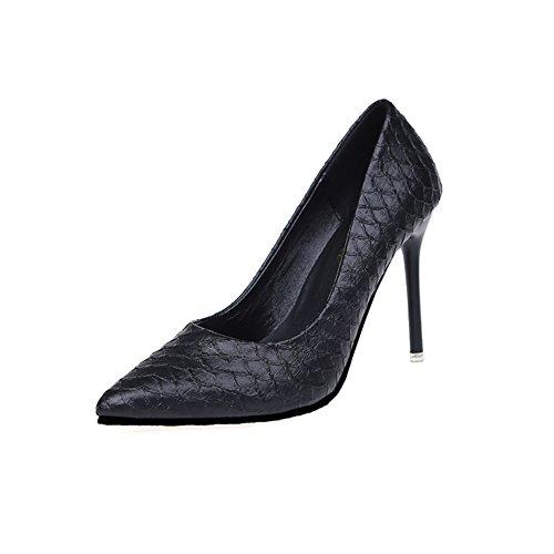 Damen High Heels, Patent Leather Pointed Shoes,Das Rote Muster ist Klein und Schuhe-B Fußlänge=23.3CM(9.2Inch)