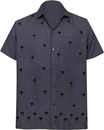 (LA LEELA Rayon Beach Floral Dress Shirt Grey X-Small | Chest 36
