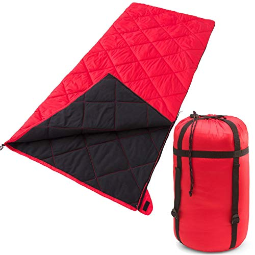 Ozark Trail Deluxe XL Warm Weather Sleeping Bag – Red – 36in W X 80in L