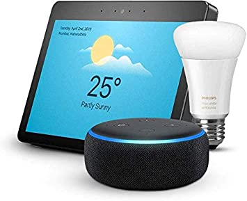 Echo Show (Black) bundle with Echo Dot (Black) and Philips