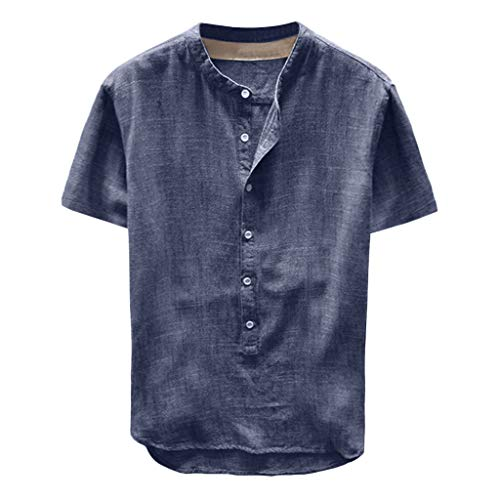 Men's Summer Casual Button Down Shirts Linen and Cotton Short Sleeve Top Standard-Fit Solid Oxford Shirt Navy]()