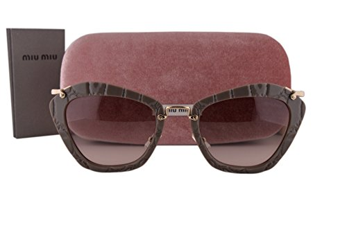 Miu Miu MU10NS Sunglasses Beige w/Pink Gradient Gray Lens USY4K0 SMU10N For Women (Sunglasses Miu Gray Miu)