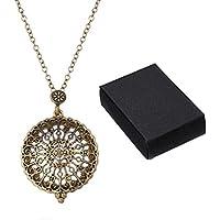 GreatFun Vintage Magnifier Pendant Necklace Glass Necklace Long Sweater Chain (B)