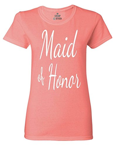 Shop4Ever Maid of Honor Women's T-Shirt Wedding Shirts