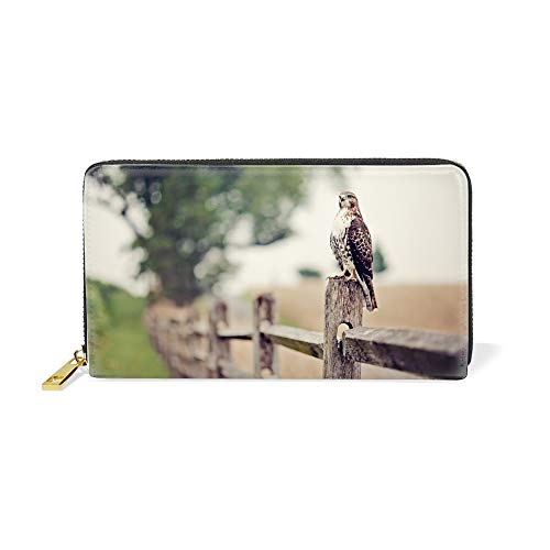Womens Falcon Leather Wallets Credit Card Cash Holder Large Capacity Clutch Purse