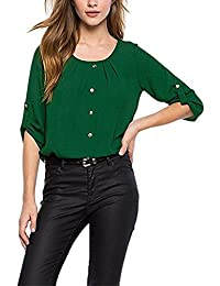 Women's Elegant Long Sleeve Scoop Neck Single Breasted Ruched Blouse T Shirt
