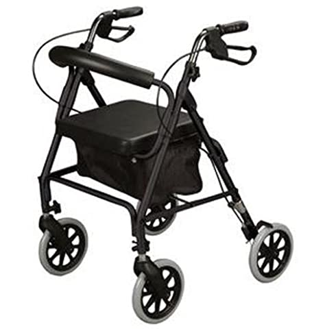 Walker- Rollator Rolling Walker with Medical Curved Back Soft Seat-Black-Roller-Curved,