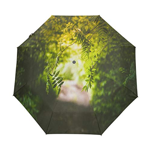OuLian Umbrella Green Leaf Plant Golf Travel Sun Rain Windproof Auto Umbrellas with UV Protection for Girls Boys Kids ()