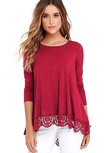 iRealy Women Short Sleeve Tunic Tops Lace Hem Dress Shirts Casual Loose Fit Cross V Neck Dressy Blouse Red