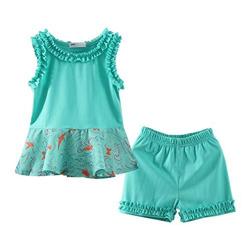 LittleSpring Toddler Girls Summer Outfit Beach Flared Sundress and Shorts Set Green Size 4T ()