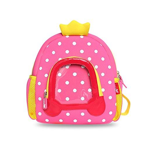 BINGONE NOHOO Kids Shoulder Bag 3D Cartoon Zoo Animal Backpack Pink Girl 2-8 years old Princess Car