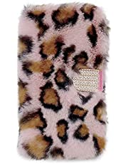 Miagon Furry Wallet Case for iPhone 11 Pro,Faux Handmade Soft Plush Bling Diamond Buckle PU Leather Flip Stand Cover with Card Slots,Leopard Pink