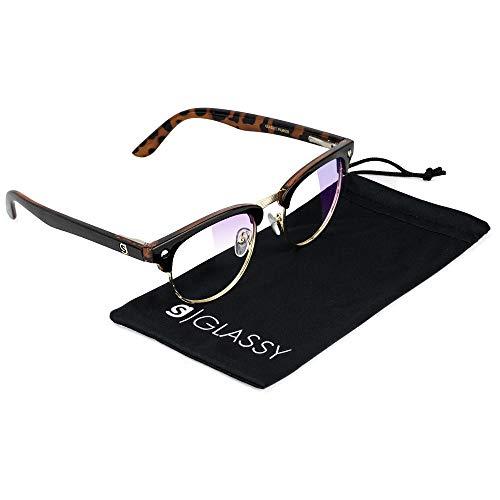 GLASSY Morrison Premium Blue Light Blocking Glasses, Anti Eyestrain and Fatigue, Glasses for Computer and Gaming, Black Tortoise Frame, Clear ()