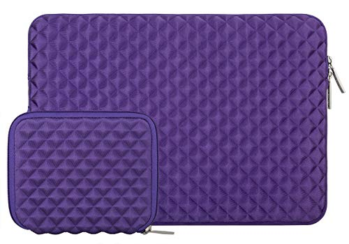 MOSISO Laptop Sleeve Compatible with 13-13.3 inch MacBook Pro, MacBook Air, Notebook Computer, Diamond Foam Neoprene Bag Cover with Small Case, Purple