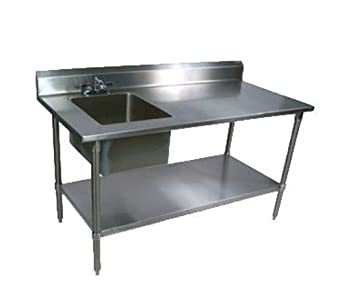 Captivating John Boos EPT8R5 3060GSK L Work Table With Sink(s)   60u0026quot