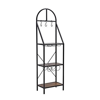 "Furniture HotSpot – Bakers Rack w/ Wine Storage - Rustic Brown w/ Distressed Pine - 18.75"" W x 11"" D x 64.5"" H"