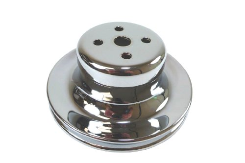 Pulley Chrome (Racer Performance Ford Small Block Chrome Steel Water Pump Upper Pulley - 1 Groove)