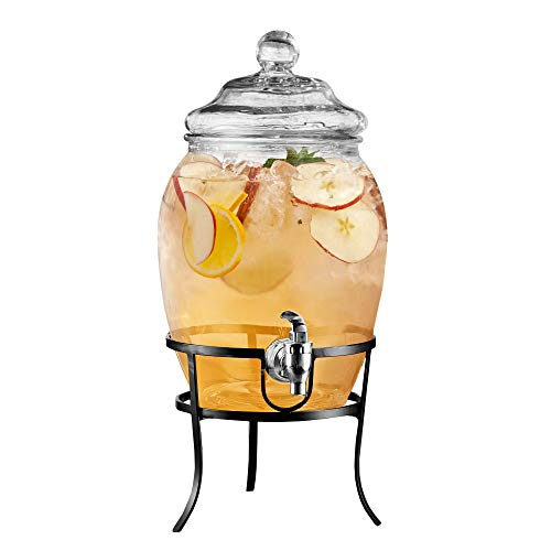 Style Setter Fortuna 210322-GB Beverage Cold Drink Dispenser w/ 2-Gallon Capacity Glass Jug, Leak-Proof Acrylic Spigot in Gorgeous Gift Box for Parties, 10x17, Clear