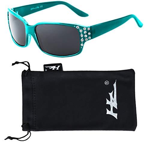 Polarized Sunglasses for Women - Premium Teal Fashion Sunglasses - HZ Series Diamante Womens Designer Sunglasses
