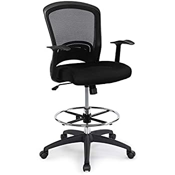 Image of Home and Kitchen Ergonomic Mid-Back Mesh Adjustable Drafting Chair with Foot Ring, Standing-Desk Matched Tall Swivel Computer Office Stool, Black