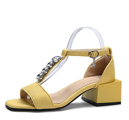 Easemax Womens Mid Chunky Heel Open Toe Faux Suede Pendants Ankle Buckle Strap Sandals With Rhinestones Yellow