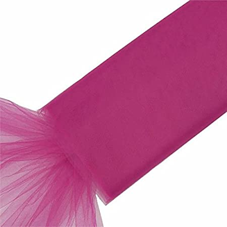 BalsaCircle 54-inch x 120 Feet Fuchsia Large Net Tulle Fabric by The Bolt Wedding Party Decorations Sewing DIY Crafts Costumes