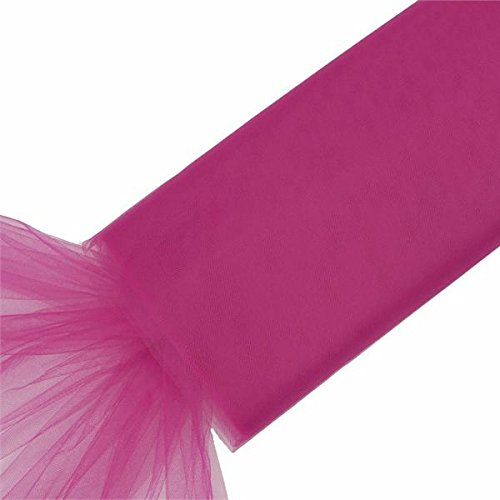 BalsaCircle 54-Inch x 120 feet Fuchsia Large Net Tulle Fabric by The Bolt - Wedding Party Decorations Sewing DIY Crafts Costumes