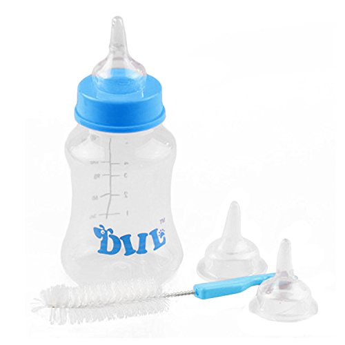 Pet Peeding Bottle,Gosear 150ml Pet Nurser Nursing Feeding Bottle Kits with Replacement Nipples for Kittens Puppy Small Animals Random Color