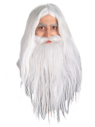 Lord Of The Rings Gandalf Beard And Set Wig, White, One Size -