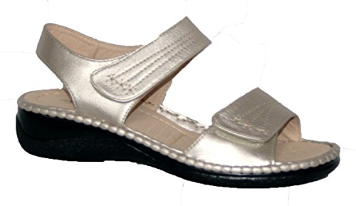 Annabelle Plus - Sandalias de verano para mujer, ajuste cómodo, doble tira con velcro pewter pu