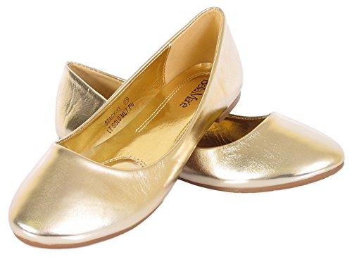 Bella Marie Stacy-13 Donna Tacco Vertice In Ecopelle Slip On Balletto Scarpe Basse Oro Chiaro